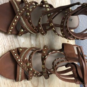 JustFab Shoes - JustFab size 9 gladiator wedges in brown.